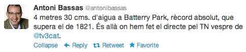 Tweet Antoni Basses - Battery Park inundat -