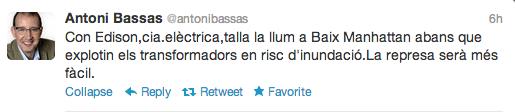 Tweet Antoni Bassas - Tall llum -