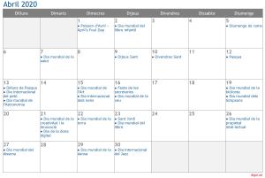 Calendari 2020 Abril Social Media