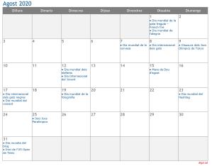 Calendari 2020 Agost Social Media