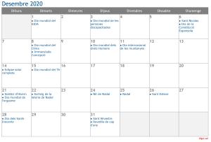 Calendari 2020 Desembre Social Media