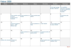 Calendari 2020 Febrer Social Media