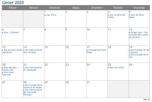 Calendari 2020 Gener Social Media