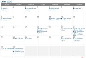 Calendari 2020 Juny Social Media