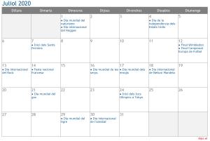 Calendari 2020 Juliol Social Media
