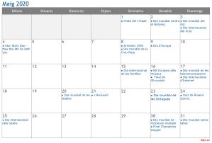 Calendari 2020 Maig Social Media