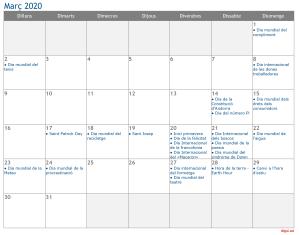 Calendari 2020 Març Social Media