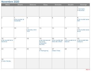 Calendari 2020 Novembre Social Media