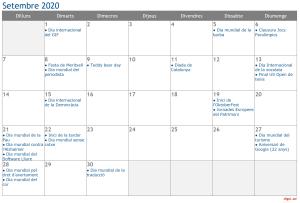 Calendari 2020 Setembre Social Media