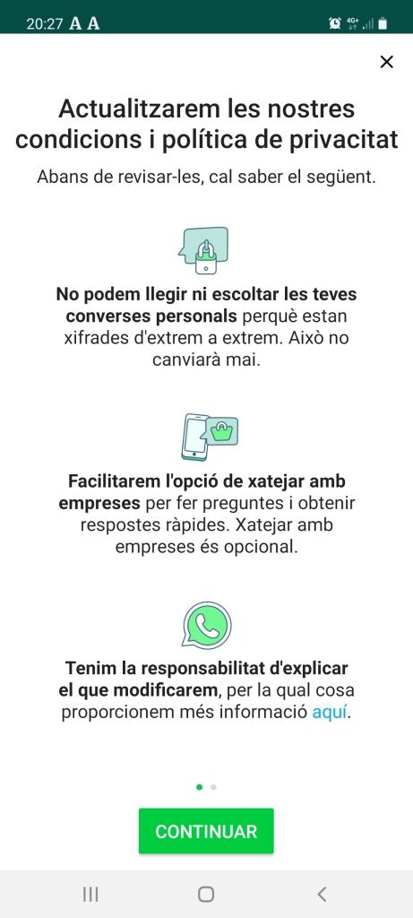 Condicions Whatsapp